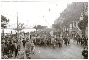 a black and white photo of the 1956 procession