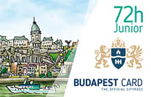 the 72 hour junior card with a drawing of Buda castle, the Danube with a boat and the crest of Budapest