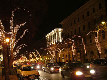 Andrássy Avenue with Christmas Lights