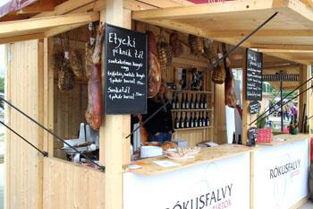 hams hanging at the wooden pavilion of Rokusfalvy cellar