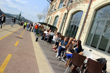 people on the terrace of the Bálna