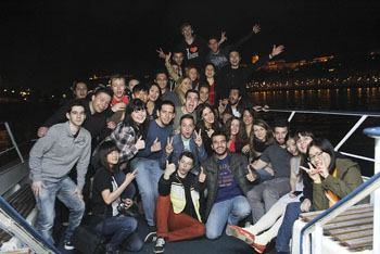 young people partying on a Boat on the Danube