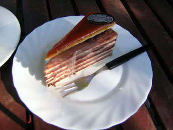 a slice of dobos torte on a plate