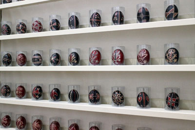 Hungarian Easter eggs dyed red and blue, Exhibition in Duna Palace
