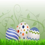 three colorful painted easter eggs