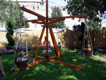 a wooden carousel