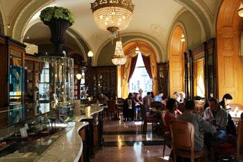 the fine interior of Gerbeaud cafe