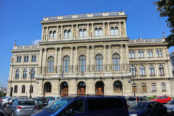 front view of the Hungarian National Academy on a clear summerday