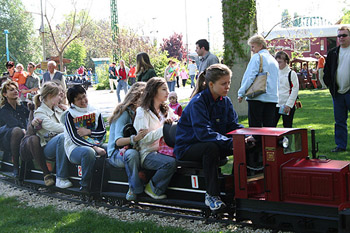 kids on the small children railway in the Hungarian Railway Museum