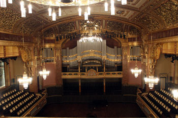 the organ in the grand hall of the academy from the gallery