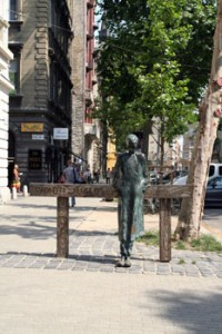The Statue of Miklós Radnóti poet in front of the theatre named after him