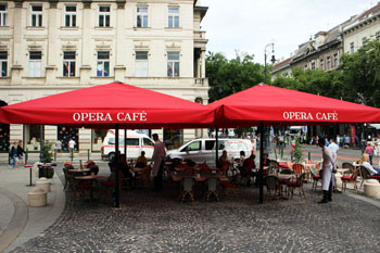 the red tented terrace of Opera cafe
