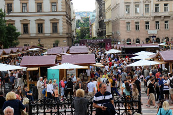 lots of people on the festival on Szt. istvan Sqr., photo take from the steps of the Basilica