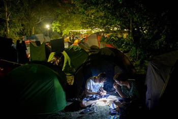 campers at night on the Sziget Fest