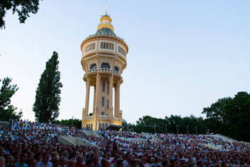 concert at the Water Tower at dusk