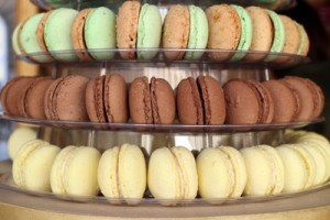 three rows of various macarons at the Gerbeaud booth