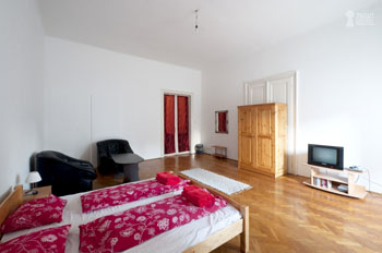 large bedroom with double bed in 2night hostel Budapest