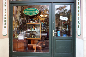 shopwindow of an Antique Shop in Falk Miksa Str. Budapest