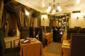 rustic interior of the restaurant illuminated at night