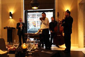 a folk orchestra playing in a restaurant