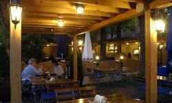 Árnyas Restaurant's Garden by night