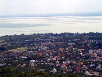 Lake Balaton and Balatonfured town from a lookout tower
