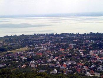 Lake Balaton and Balatonfured town from a lookout tower
