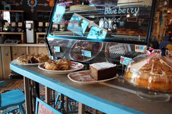 a variety of cakes in Blue Bird cafe