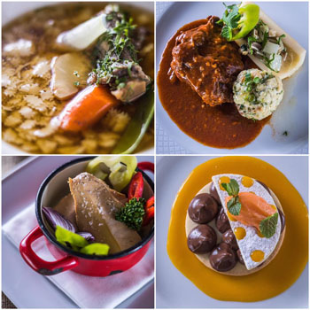 an assortment of dishes in Bock Bistro