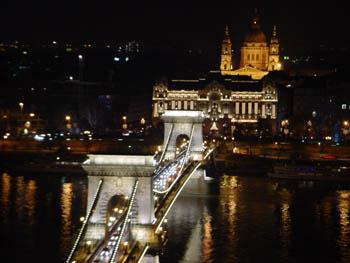 Chain bridge lighted up at night