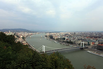 The Danube with the bridges in Budapest