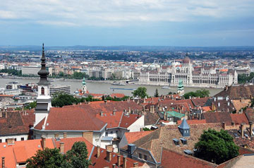 rooftops, buildings, churches in Buda and Pest with the Danube in between