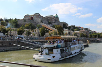 a public boat on the Danube at the Castle Bazaar port