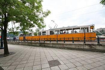 Tram 2 along the Danube in Pest