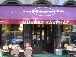 on the terrace of Művész Cafe