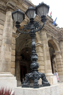 large black cast iron street lamp at the main entrance