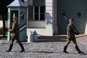 two soldiers of the Hungarian guards of Honour walking