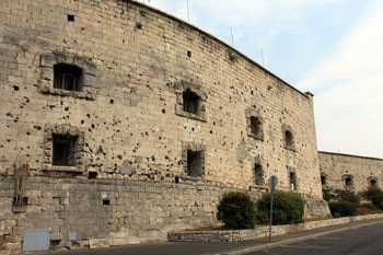 small windows on the wall of the citadel