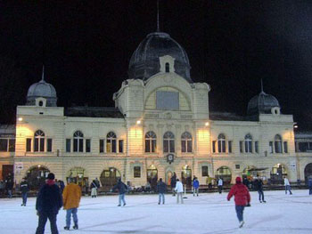 Skaters on the Ice Rink in City park