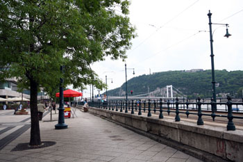 The Danube promenade with the white Erzsebet bridge in the background