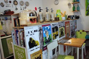 Dynamobake cafe:'colourful interior