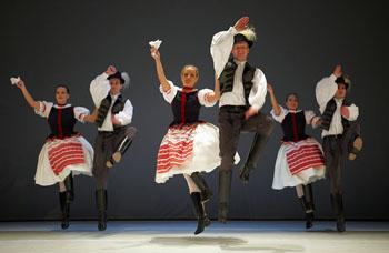 Hungarian folk dancers in folk costume