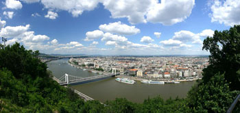 view of the Danube and Elizabeth bridge from Gellert Hill