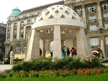 the domed drinking fountain in front of the Gellért Hotel and Bath