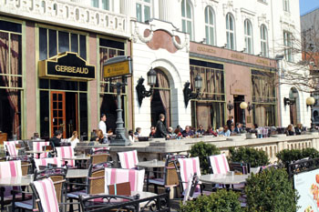 guests on the terrace of Gerbaud cafe