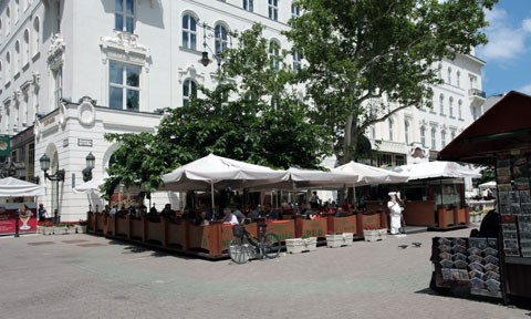 Gerbeaud Cafe also has a terrace that is usually packed with tourists on warm, sunny days