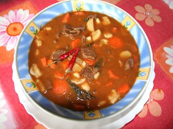 goulash in a blue flower decorated soup plate