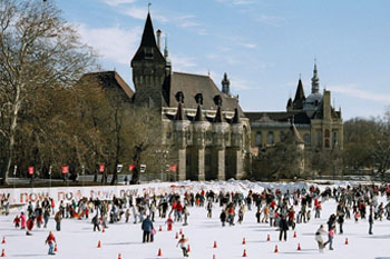 ice skaters on the City Park rink, Vajdahunyad Castle in the background