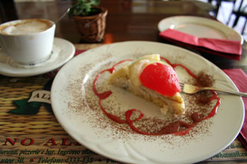 a slice of cheese cake in Karolyi Cafe