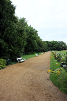 a walkway with a white bench